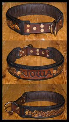 leather art | Custom Works: Individual Leather Dog Collar in Viking Style with D ...