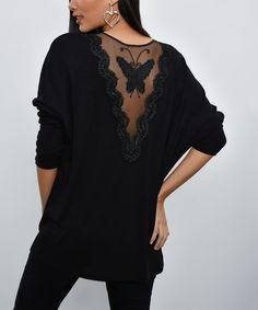 New Laviva Black Mesh-Accent Butterfly V-Neck Top - Women Black Mesh, V Neck Tops, Elegant Dresses, Boho Dress, Dresses Online, Cold Shoulder Dress, Dressing, Butterfly, Plus Size