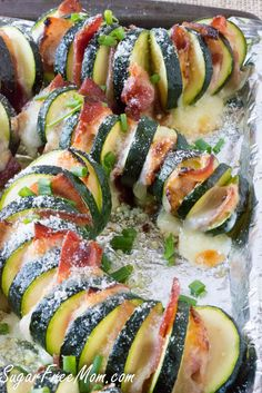 Low Carb Cheesy Bacon Hasselback Zucchini Cheesy Bacon Hasselback Zucchini made on the grill or in the oven, either way it's a crowd pleasing recipe! Low Carb Side Dishes, Side Dish Recipes, Low Carb Recipes, Free Recipes, Healthy Recipes, Lchf, Summer Side Dishes, Low Carb Keto, Food Dishes