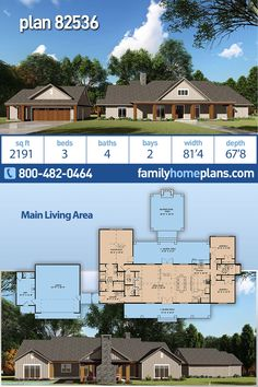 Bungalow, Craftsman, Farmhouse House Plan 82536 with 3 Beds, 4 Baths, 2 Car Garage House Plans One Story, Best House Plans, Dream House Plans, House Floor Plans, 2200 Sq Ft House Plans, Ranch House Plans, Modern Farmhouse Plans, Farmhouse Style, Craftsman Farmhouse