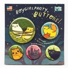 I'm adding new packaged button sets to http://boygirlparty.etsy.com beginning with this cat set!