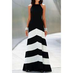 Sexy Halter Sleeveless Color Block Women's Dress