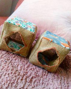 House Rabbit, Hessian, Cube, Decorative Boxes, Entertaining, Make It Yourself, Fabric, Pattern, Tejido