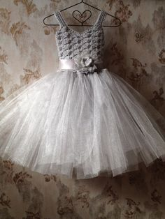 Gray flower girl tutu dress flower girl tutu dress crochet by Qt2t, $79.99-Will have the tutu in yellow instead !