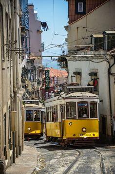 Lisbon Tram, Train Light, Rail Europe, Train Posters, Public Architecture, Rapid Transit, Bonde, Voyage Europe, Belle Villa