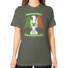 Irish by the grace of god Unisex T-Shirt (on woman)