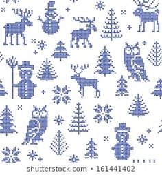 Christmas background with deer and owl for knitting or filet crochet - stock vector Knitting Charts, Knitting Stitches, Knitting Patterns, Cross Stitching, Cross Stitch Embroidery, Cross Stitch Patterns, Christmas Knitting, Christmas Cross, Vector Christmas
