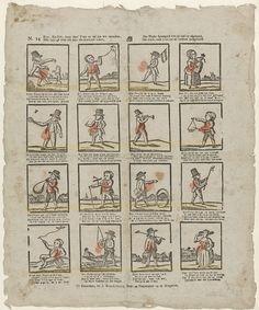 Jan Hendriksen | Kom, kind'ren, koop deez' prent zy zal uw wis vermaken, / Hier hebt gy wêêr een keur van allerhande zaken, / Het kinder speelgoed ziet gy hier by afgebeeld, / Het word, voor u tot nut en vermaak meégedeeld, Jan Hendriksen, Anonymous, 1781 - 1828 | Blad met 16 voorstellingen van kinderspelen, zoals vliegeren, hoepelen en vissen. Onder elke afbeelding een vierregelig vers. Genummerd linksboven: N. 24.