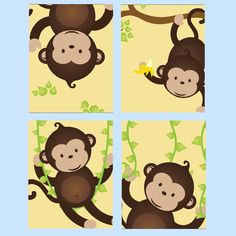 Monkey Nursery Art for boy or Girl, Set of Four  8x10 prints, great for nursery, or toddler room, or as a gift, boy/girl version by LittlePergola on Etsy https://www.etsy.com/listing/174564152/monkey-nursery-art-for-boy-or-girl-set