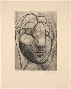 Head of a Woman, Pablo Picasso (Spanish, Malaga 1881–1973 Mougins, France), Drypoint