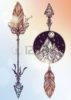boho: Ethnic boho decorative arrows set in tattoo style.Tribal template in boho…