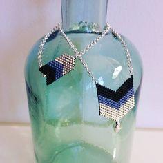 Parure sautoir et bracelet en perles Miyuki, chevrons noir, bleu et argenté - Les Midinettes