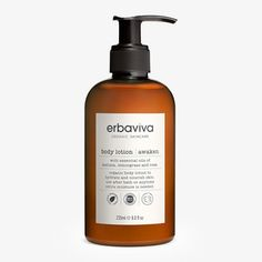 Ideal for daily moisturizing, Erbaviva Awaken body lotion is a lightweight yet deeply hydrating blend of cocoa butter, aloe and jojoba – their nourishing properties accentuated by ultra aromatic organic essential oils of lemongrass, mandarin, bergamot and rose.