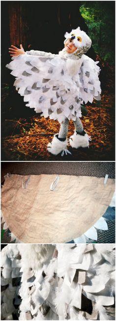 "No Sew ""Snowy Owl"" Costume."