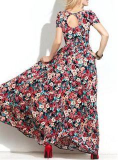 Sweet Short Sleeve Scoop Neck Floral Print Hollow Out Women's Maxi DressMaxi Dresses