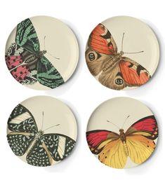 Thomas Paul Melamine Metamorphosis Side Plates - Set of 4 Pottery Painting Designs, Pottery Designs, Paint Designs, China Painting, Ceramic Painting, Ceramic Art, Ceramic Plates, Ceramic Pottery, Arte Sharpie