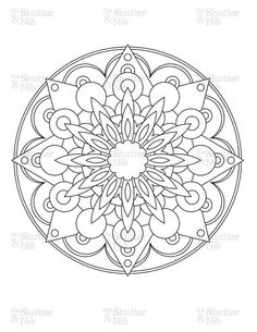 Printable Mandala Image Download - Coloring Book Page - Digital Scrapbook Clipart - Graphic Line Art: