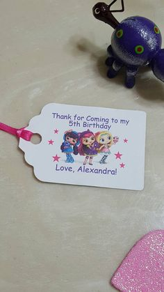 Personalised Little Charmers Stickers Birthday Party Thank You Sweet Cones Label