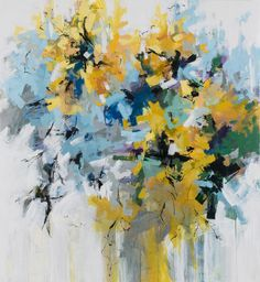 """Carlos Ramirez, """"Sunflowers by the North Gate"""", acrylic and ink on canvas, 60 x 55 inches"""
