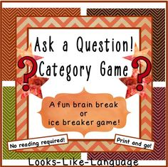 So many picture activities and games to build skills for asking questions and categories! $