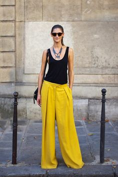 yellow wide leg trousers.