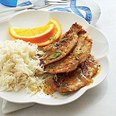 A simple pan sauce gives this dish of Orange-Ginger Turkey Cutlets with Coconut Rice both sweet and savory flavor. A simple pan sauce gives this dish of Orange-Ginger Turkey Cutlets with Coconut Rice both sweet and savory flavor. Turkey Cutlet Recipes, Cutlets Recipes, Turkey Recipes, Rice Recipes, Chicken Recipes, Asian Recipes, Recipies, Healthy Eating Recipes, Cooking Recipes