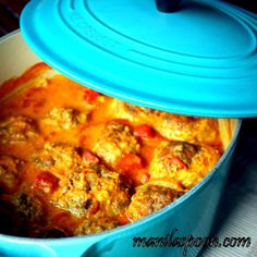 Manila Spoon: Frikadelles - South African Braised Meatballs -  delicious spices and chutney plus a creamy tomato-coconut curry sauce give these giant meatballs exceptional flavor!