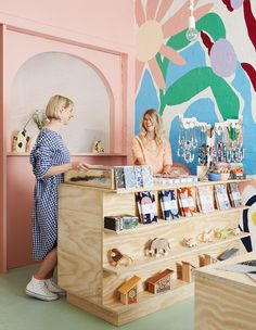 How amazing does look? We're so excited to be part of such a lovely, creative space! Wall art by Boutique Interior, Boutique Decor, Shop Interior Design, Baby Store Display, Store Displays, Retail Displays, Merchandising Displays, Window Displays, Bookstore Design