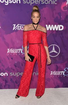 Jasmine Sanders Photos - Model Jasmine Sanders attends the Annual StyleMaker Awards hostd by Variety and WWD at Quixote Studios West Hollywood on November 2016 in West Hollywood, California. Golden Barbie, Jasmine Sanders, Short Jumpsuit, Romper Pants, Red Carpet Looks, Celebs, Celebrities, Shades Of Red, Red Carpet Fashion