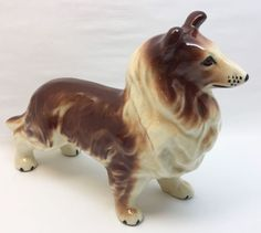 """Collie Dog Figurine Ceramic Hand Painted Good condition 9.5"""" long x 7.25"""" tall"""