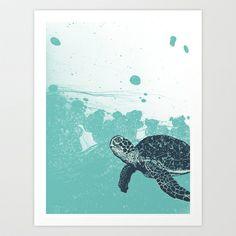 Sea Foam Sea Turtle Art Print by Joseph Baum - $15.00