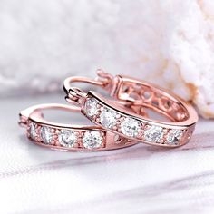 Buy Rose Gold Plated Copper Cubic Zirconia Circle Ear Clip Creole Huggie Hoop Earrings Fish Hoop - and Find Large Selection of Designer Jewelry at Best Prices Buy Roses, Designer Earrings, Rose Gold Plates, Jewelry Design, Plating, Copper, Hoop Earrings, Wedding Rings, Fish