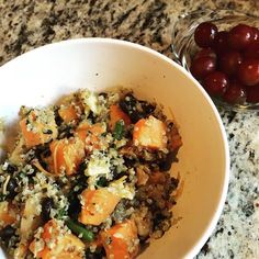 """Dinner! Mixed some of the kale & quinoa (from Costco) with sweet potatoes, beans, and some sharp cheddar ... Weird combo as usual but so, so yummy! What're you having for dinner? ➡➡ Ppl often question eating intuitively (and getting out of the diet obsession) when they're a coupe weeks or months into the """"process.""""   Will I gain weight?   Is this working?   Should I go back on a diet?   I keep overeating, am I gaining weight?   Will I ever be able to eat all foods in moderation?   ➡➡ I get…"""
