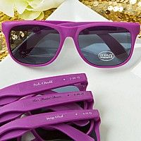 Purple frame sunglasses personalized with custom printed clear stickers