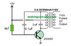 The proposed 3V to 110V 0r 220V circuit listed below is actually a DC to DC converter having a ordinary 3-0-3V VAC center tapped power transformer rigged i