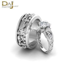 Anchor Gothic Diamond Skull Wedding Band Ring Set His And Her Promise Rings Gift