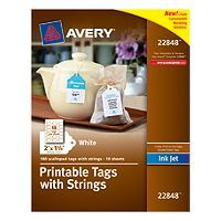 "Tags Avery® Printable Tags with Strings 22848, Scallop, 2"" x 1-1/4"", Pack of 180 22848 