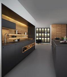 Cozinha combina tom de cinza chumbo com madeira clara. Modernidade e aconchego. Projeto em Houzz. #lilianazenaro #decoracao #reforma #interiores #designdeinteriores #projeto #cozinha #cozinhamoderna