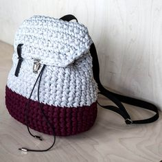 Vinous/Grey Crochet Backpack by KnitKnotKiev on Etsy
