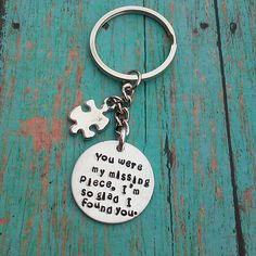 My Missing Piece Keychain by tagsandthingsbyk on Etsy
