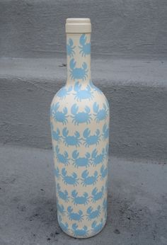 White Crab Nautical Upcycled Decorative Glass Bottle. $15.00, via Etsy.