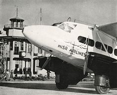 Misr (Egypt) Airlines plane in front of Baghdad airport, c1942طائرة مصر للطيران أمام مطار بغداد، ١٩٤٢ Baghdad Iraq, The Past, Aircraft, America, History, Iran, Archive, Civil Aviation, Norte