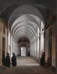 Monks in the Cloister of the Church of Gesù e Maria, Rome (1808) -  François Marius Granet (French, Aix-en-Provence 1775–1849 Aix-en-Provence)