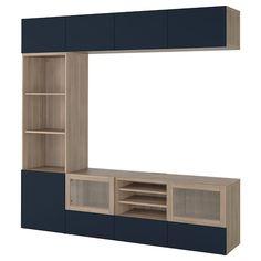 IKEA - BESTÅ TV storage combination/glass doors walnut effect light Tv Storage, Storage Spaces, Record Storage, Ikea Tv, Besta Tv Bank, Tv Bench, Glass Front Door, Glass Doors, Frame Shelf