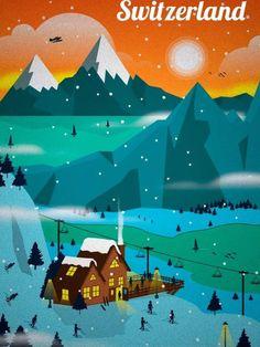 Pop Switzerland The Alps Christmas Travel Vintage Retro Kraft Poster Vintage Ski Posters, Retro Poster, Cool Posters, City Poster, Poster S, Pub Vintage, Photo Vintage, Vintage Art, Travel Ads
