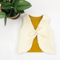 Baby Girl Clothes, Organic Cotton Fur Baby Vest With Mustard Colour Pure Linen Lining, READY TO SHIP from Europe