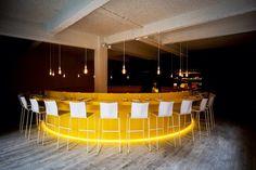 Yellow Corian eat/bar furniture, made by Mobitim