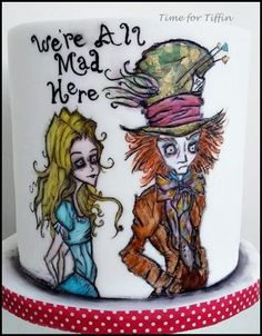 Alice and the Mad Hatter - Cake by Time for Tiffin Sweet 16 Birthday Cake, 16th Birthday, Art Deco Cake, Cake Art, Mad Hatter Cake, Alice In Wonderland Cakes, Cake Decorating With Fondant, Piping Techniques, Hand Painted Cakes