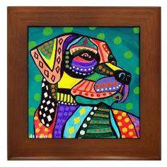 Lab Framed Ceramic Tile   Labrador Retriever by HeatherGallerArt, $45.00