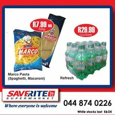 Weekend savings at Saverite Supermarket York street once again. We have Pasta and Refreshhh Cold drinks on special once again, and don't forget our trolley dash takes place at so come on down and join in the fun. Special Of The Day, York Street, Cold Drinks, Macaroni, Pasta, Monday Morning, Don't Forget, Spaghetti, Join